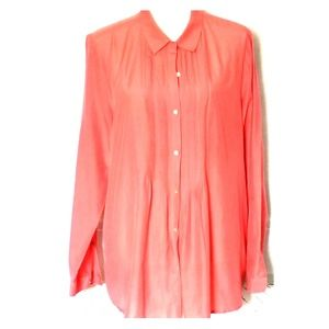 EUC J.Jill Sheer Long Sleeve Button Down Blouse